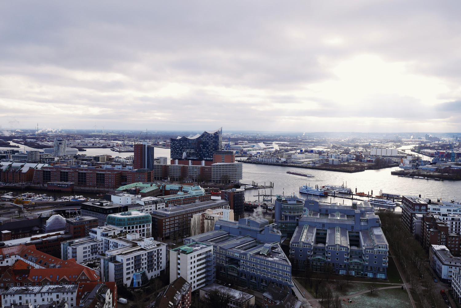 view over Hamburg from Michel